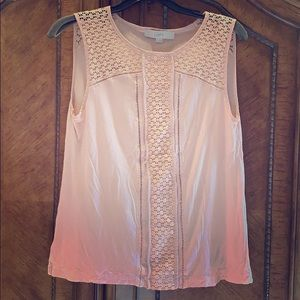 Loft Pale Pink Crochet Accented Top